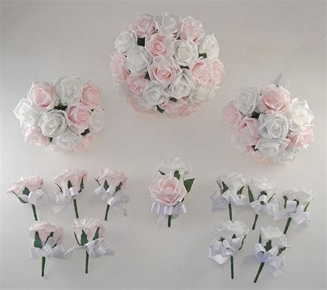 White & Light Pink Foam Rose Wedding Flower Package with