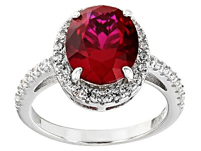 Charles Winston For Bella Luce® Lab Created Ruby & Diamond Simulant Rhodium Over Sterling Ring