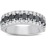 Pompeii 3 - 1 5/8ct Treated Black & White Diamond Wide Womens Wedding Ring 14K White Gold