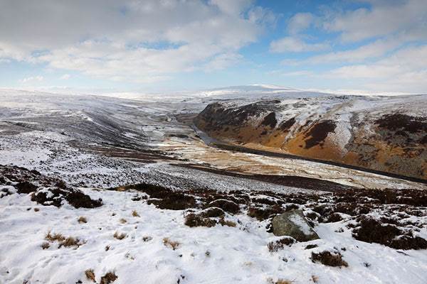04D-3047 The River Tees and Falcon Clints Viewed from Man Gate on Cronkley Fell in Winter Upper Teesdale County Durham
