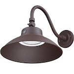 LEONLITE LED Gooseneck Barn Light, Photocell Included, Swivel Head Outdoor Wall Light, 42W, 5000K Daylight, 4000 Lumens, Brown