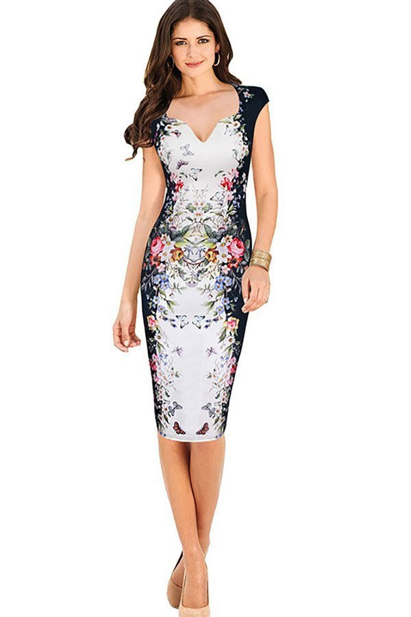Evening bodycon dress dresses collar v floral purple for