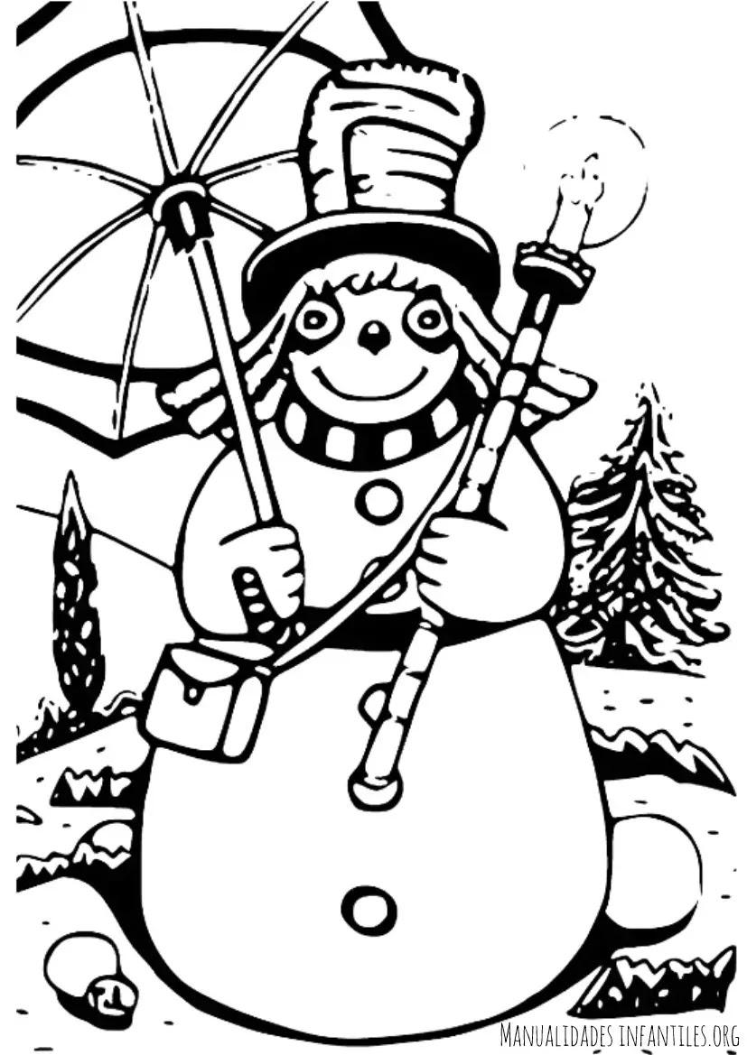Dibujo De Muñeco De Nieve Para Colorear Actividades Para Niños
