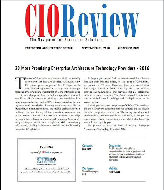 Real IRM Solutions named to CIOReview's 20 Most Promising Enterprise Architecture Technology Providers 2016