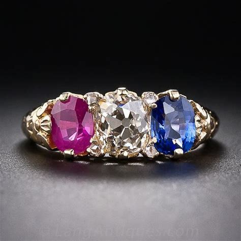 Victorian Diamond Ruby and Sapphire Ring