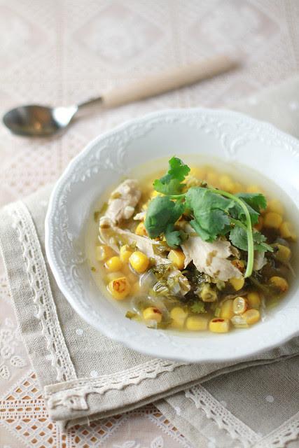 Roasted Corn, Coriander & Chicken Soup