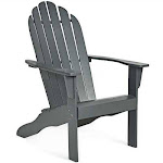 Outdoor Solid Wood Durable Patio Adirondack Chair-Gray - Color: Gray