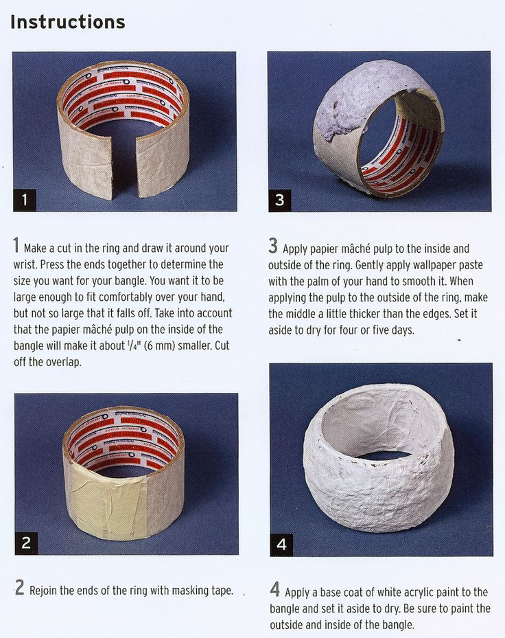 Use papier mache pulp/clay to coat cardboard roll (like from inside of tape) to turn it into a bangle bracelet. Decorate with string, decoupaged napkin/stamps/book page/newspaper/maps/fabric.
