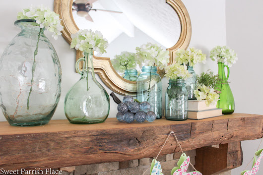 Fresh Cheerful Spring Mantel • Sweet Parrish Place