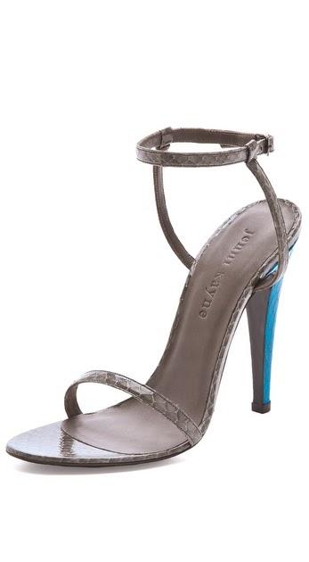Shoeniverse: JENNI KAYNE Grey Ankle Strap Heels - ON SALE!