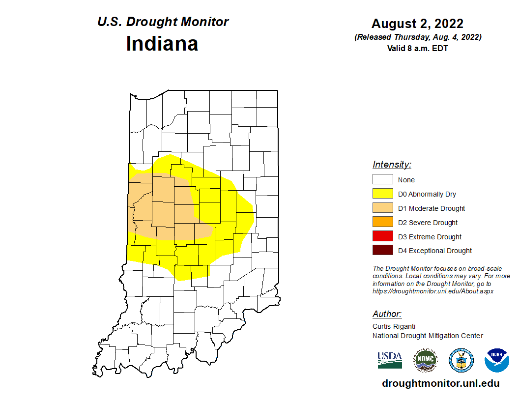 Current drought map of Indiana