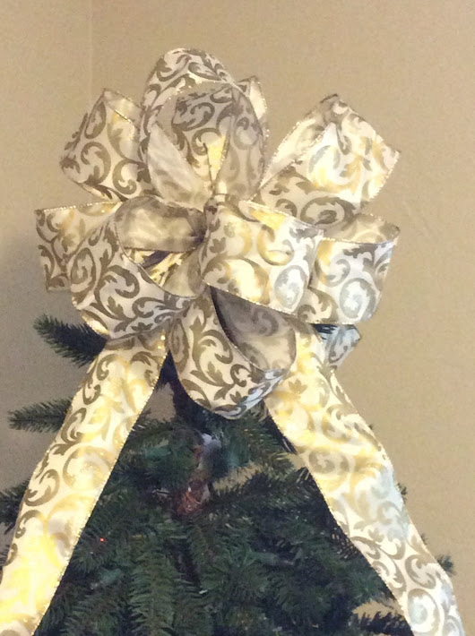 Christmas Tree Topper Bow/ Gold Holiday Scroll Tree Topper Bow/ Gold Christmas Tree Bow/ Handmade Tree Topper Bow/ Gold Christmas Bow