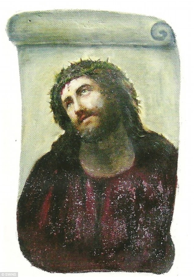Original: Elias Garcia Martinez's 'Ecce Homo', which has been admired by worshippers at the Sanctuary of Mercy Church in Zaragoza, Spain, for more than 120 years