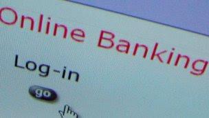 Online banking screen