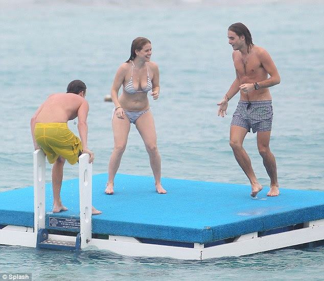 Bonding time: Alice, the daughter of British actors Trevor Eve and Sharon Maughan, seemed to be relishing in having a few days with her nearest and dearest