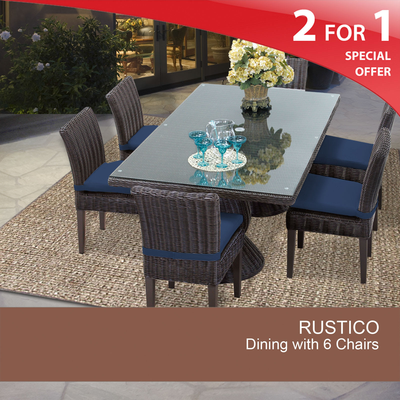 Rustico Rectangular Outdoor Patio Dining Table With 6 ...