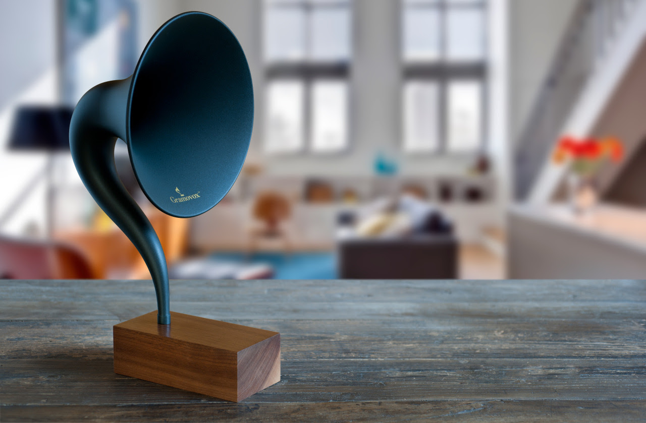 """The first ever Bluetooth Gramophone by Gramovox  """"We proudly introduce the Gramovox™: World's First Bluetooth Gramophone. Our bold design and vintage sound are inspired by the 1920s Magnavox R3 Horn Speaker. Its form and function are a marriage of vintage and modern aesthetics—producing a timeless piece that allows you to stream nostalgia.""""  Kickstarter/video"""