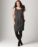 DKNYC Plus Size Dress, Sleeveless Pleated