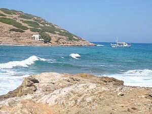 English: Isle of Agios Nikolaos and the namesa...