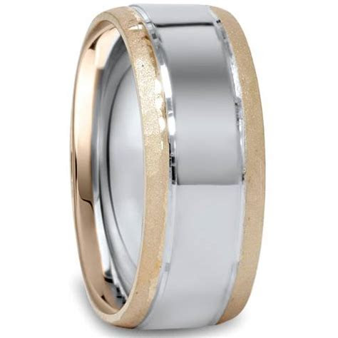 Mens 8mm Hammered 14K White & Yellow Gold Two Tone Wedding