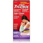 Tylenol Infants' Pain + Fever Relief Liquid, Grape - 2 fl oz bottle
