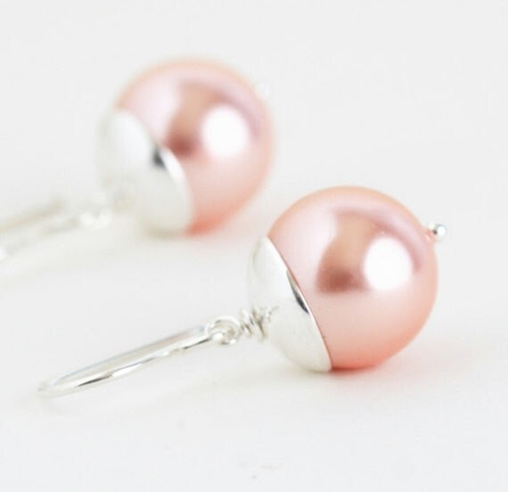 Earrings, Soft Pink and Sterling Silver Earrings - Stunning Simplicity