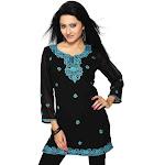 Black georgette kurti w/ turquoise colored embroidery work.-Medium