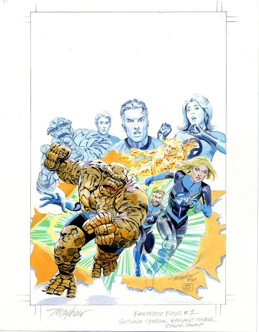 Mike Mayhew Original FANTASTIC FOUR #1 Gotham Central Variant Painted Prelim, in Mike Mayhew's MARVEL COVERS Comic Art Gallery Room