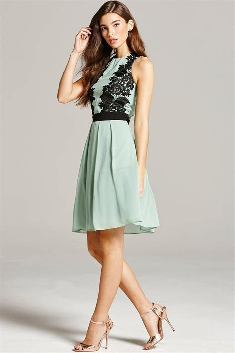 Sage and Black Lace Overlay Prom Dress   from Little