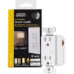 GE - Mytouchsmart Receptacle Wi-Fi Smart Outlet - White/Light Almond