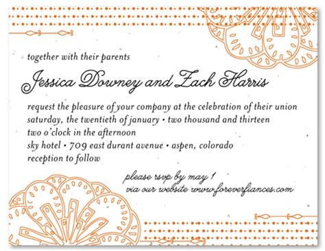 spanish wedding invitations  seeded paper feliz