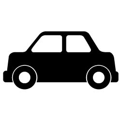 黒い自動車セダン4車の無料イラストc25