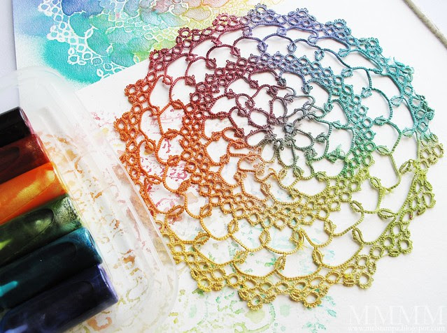 doily sprayed with DIY glimmer mists mel stampz