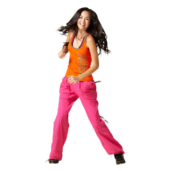 authentic new zumba logo cargo pants pink with purple