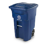 Toter 025564-r1blu Residential Heavy Duty 2-wheeled Recycling Can With Attached Lid, 64-gallon, Blue