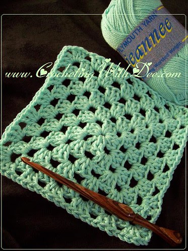 CeeCee's Granny Square Washcloth; pattern can be found in the novel, 'Hooked on Murder.'