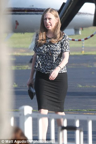 Chelsea Clinton is seen arriving in the Hamptons ahead of a fundraiser for her mother