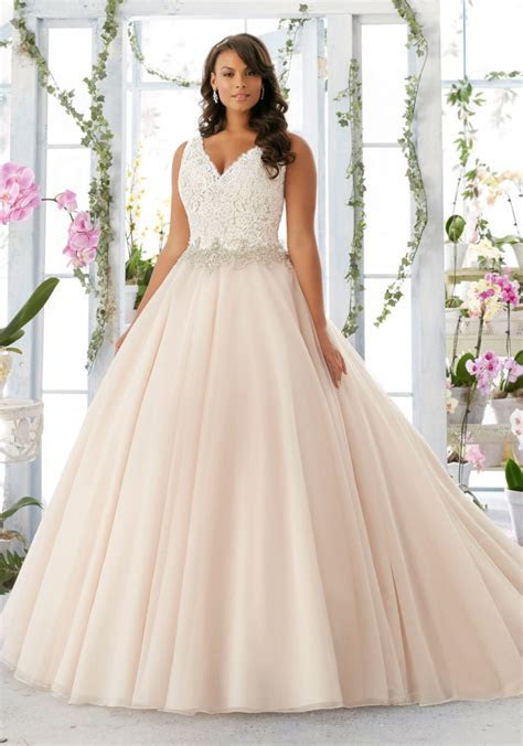Morilee Bridal Embroidered Lace Bodice Edged with Beading