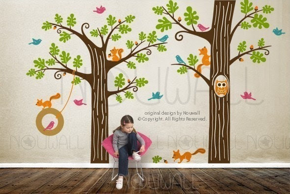 NEW DESIGN - Animal Friends in Woodland (HUGE) - FREE 5 more BIRDS - Vinyl sticker wall decal children playroom 081
