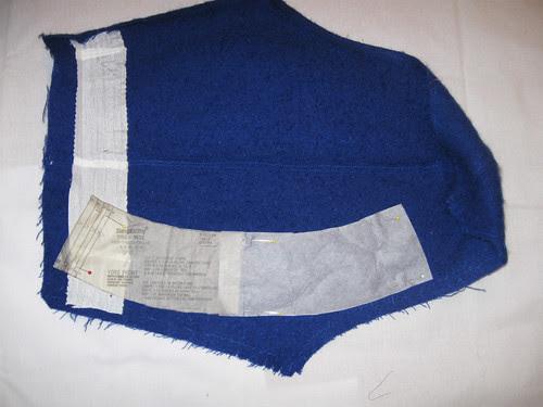 Blue coat sleeve used for skirt waistband