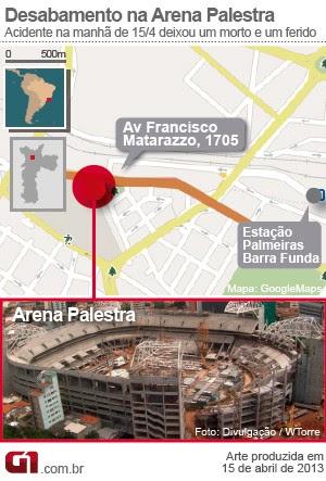 Arte Queda Arquibancada Arena Palestra (Foto: Arte/G1)