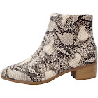 City Classified Women's Snake Skin Pu Pointy Toe Stacked Heel Ankle Bootie