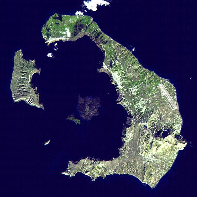 Спутниковый снимок Санторини | Aerial photograph of Santorini