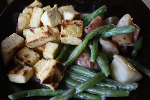 Tofu and birds eye green beans and roasted potatoes