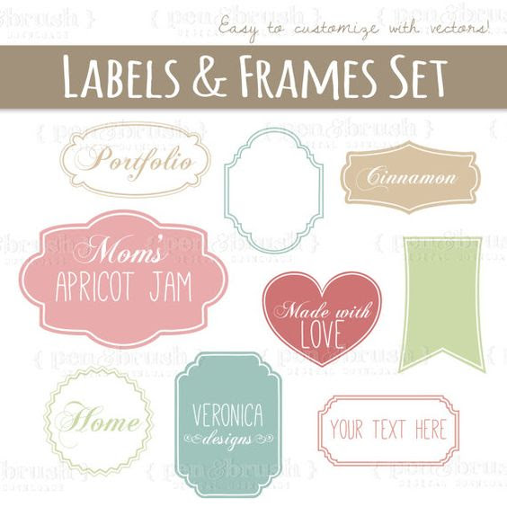 Cute Vector Labels & Frames // Photoshop Brush Stamps // Printable ...