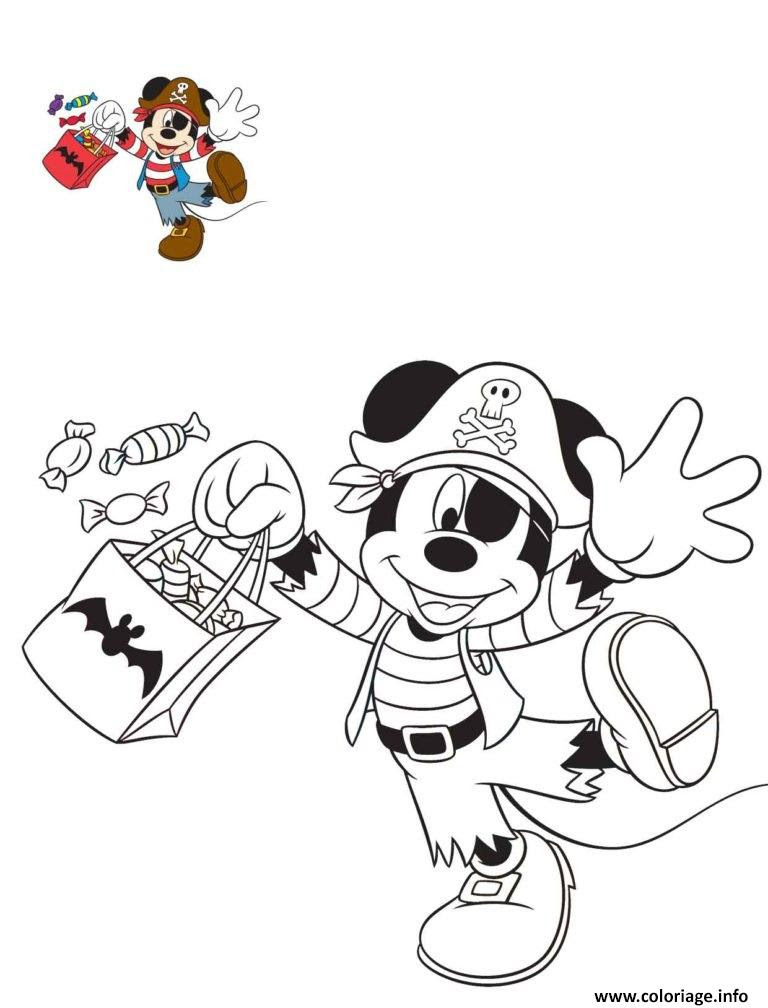 Coloriage Halloween Disney Mickey Mouse Pirate Jecoloriecom