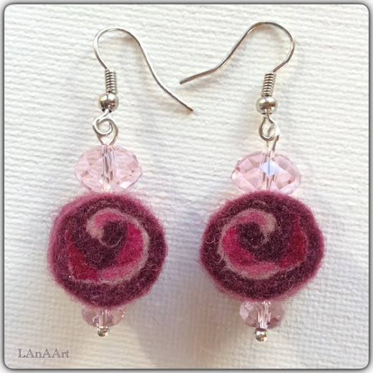 Earrings  felt earrings  handmade felt merino wool  Life