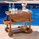 Christopher Knight Home Tillary Outdoor Aluminum Wood Drop Leaf Bar Cart by Dark Oak