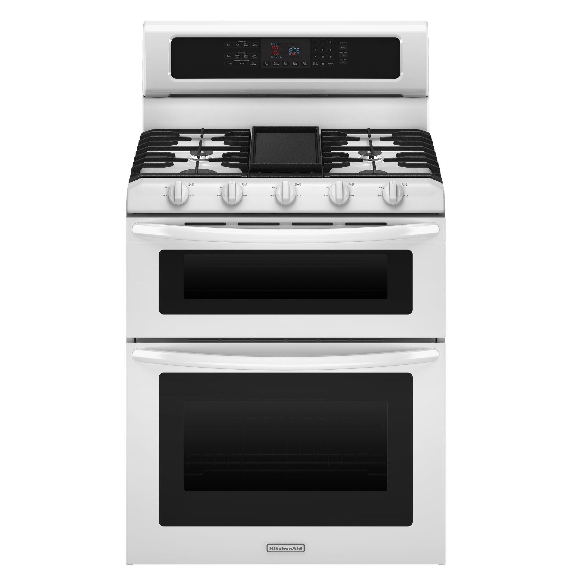 KitchenAid - KGRS505XWH - 6 cu. ft. Double Oven Gas Range ...