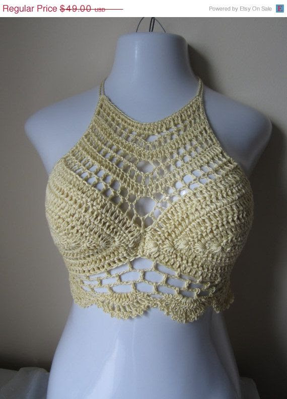 Crochet halter top, festival,boho chic, beach cover up, gypsy top, cotton